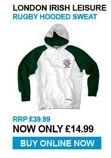 London Irish Leisure Hoody - RRP £39.99 - Now £14.99
