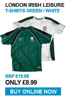 London Irish Leisure T-Shirts - Green / White - RRP £19.99 - Now £8.99
