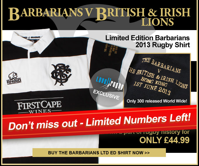 EXCLUSIVE Barbarians V Lions Commemorative Shirt - Limited Numbers Left