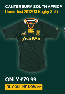 Canterbury South Africa Home Test 2012/13 Rugby Shirt - Only 79.99