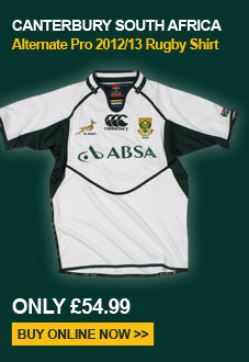 Canterbury South Africa Alternate Pro 2012/13 Rugby Shirt - Only 54.99