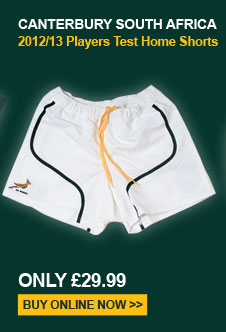 Canterbury South Africa Home 2012/13 Players Test Shorts  - Only 29.99