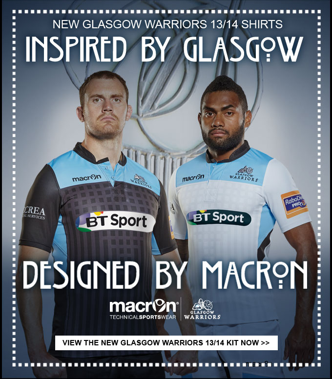 NEW Glasgow Warriors Home and Alt Kit in stock now