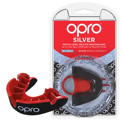 Silver Mouth Guard Black/Red