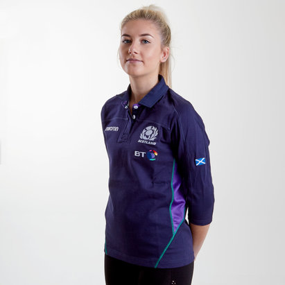 Scotland 2018/19 Home Ladies Cotton 3/4 Sleeve Replica Rugby Shirt