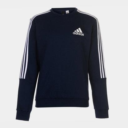 adidas Mens Crew 3 Stripes Pullover Sweatshirt