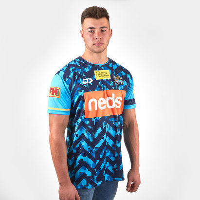 Dynasty Sport Gold Coast Titans 2019 NRL Players Warm Up Rugby T-Shirt