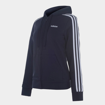 adidas Stripes Zip Fleece Track Top Hoodie