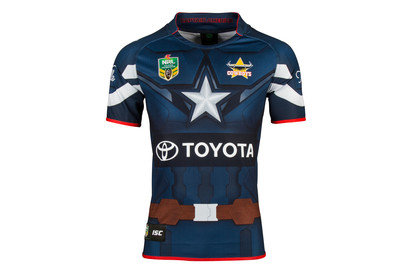 North Queensland Cowboys 2017 NRL Captain America Marvel SS Ltd Edition Rugby Shirt