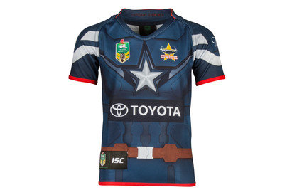 North Queensland Cowboys 2017 NRL Kids Captain America Marvel SS Ltd Edition Rugby Shirt