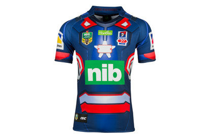 Newcastle Knights 2017 NRL Iron Patriot Marvel SS Ltd Edition Rugby Shirt