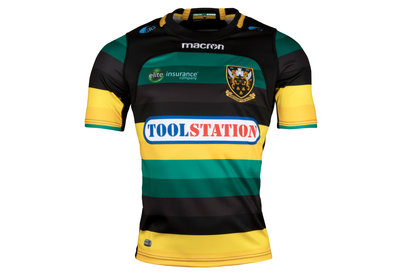 Macron Northampton Saints 2017/18 Home Kids S/S Replica Rugby Shirt