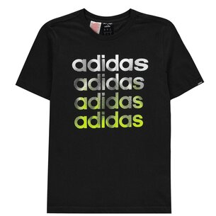 adidas Faded Repeat Logo T Shirt Junior Boys