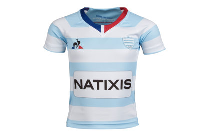 Le Coq Sportif Racing 92 2017/18 Kids Home S/S Replica Rugby Shirt