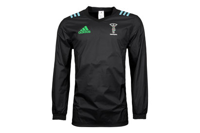 adidas Harlequins 2017/18 Players Rugby Crew Neck Rain Jacket