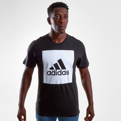 adidas Essentials Box Logo Mens Crew Neck T Shirts