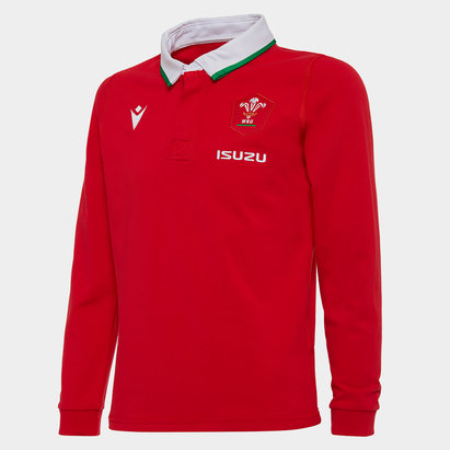 Macron Wales Classic Long Sleeve Home Shirt 2020 2021 Junior