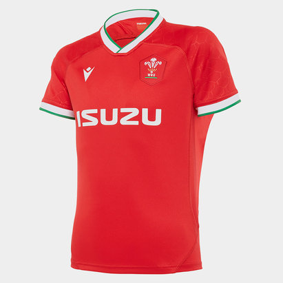 Macron Wales Short Sleeve Classic Home Shirt 2020 2021 Junior