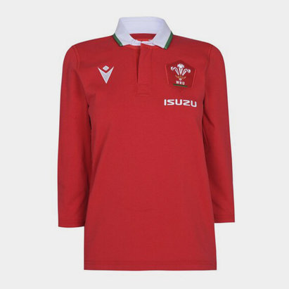 Macron Wales Home Three Quarter Sleeve Classic Shirt 2020 2021 Ladies