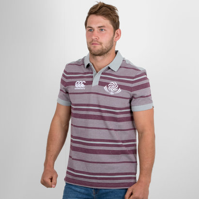 Canterbury Georgia 2018/19 Jacquard Stripe Rugby Polo Shirt