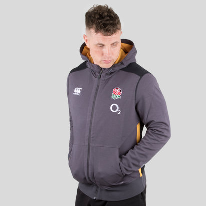 Canterbury England 2018/19 Players Full Zip Fleece Hooded Rugby Sweat