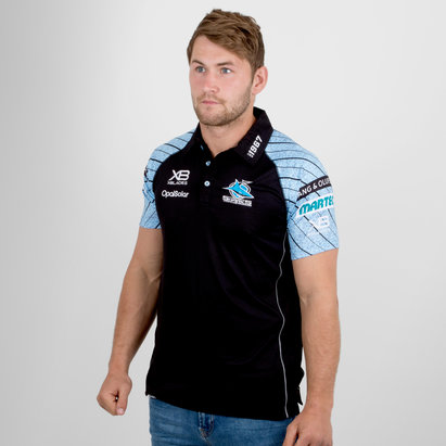 X Blades Cronulla Sharks NRL 2018 Players Media Rugby Polo Shirt