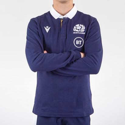 Macron Scotland Classic Long Sleeve Home Rugby Shirt 2020 2021