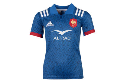 adidas France 2018 Home Kids S/S Replica Rugby Shirt