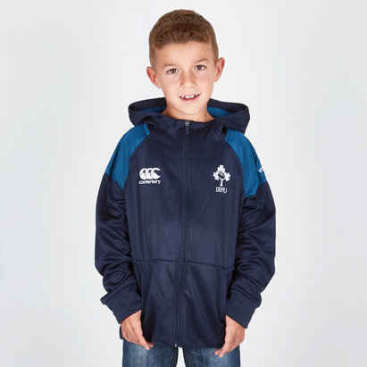 Canterbury Ireland IRFU 2018/19 Kids Hybrid Full Zip Hooded Rugby Sweat