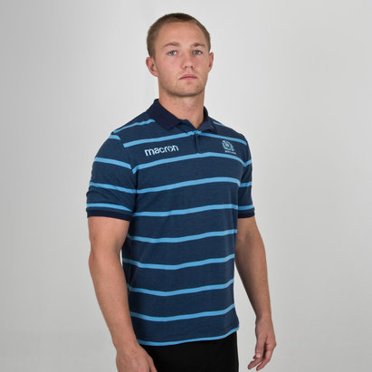Macron Scotland 2018/19 Players Travel Stripe Rugby Polo Shirt