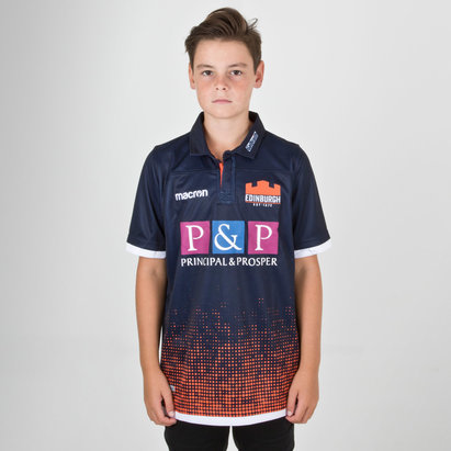 Macron Edinburgh 2018/19 Home Pro Kids S/S Rugby Shirt
