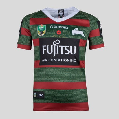 ISC South Sydney Rabbitohs NRL 2018 Kids Anzac S/S Rugby Shirt