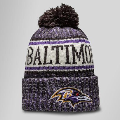 New Era NFL Baltimore Ravens Sideline Bobble Knit Hat