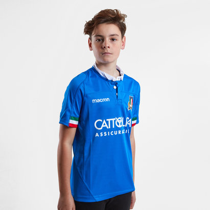 Macron Italy 2018/19 Home Kids S/S Replica Rugby Shirt