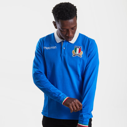 Macron Italy 2018/19 Players L/S Cotton Rugby Polo Shirt