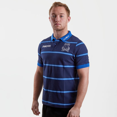 Macron Italy 2018/19 Players Cotton Travel Rugby Polo Shirt
