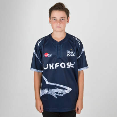 Samurai Sale Sharks 2018/19 Kids Home S/S Replica Rugby Shirt