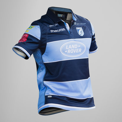 Macron Cardiff Blues 2018/19 Kids Home S/S Replica Rugby Shirt