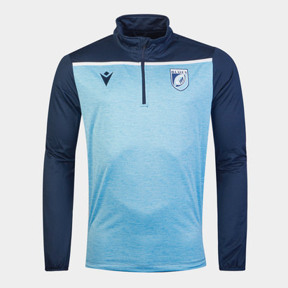 Macron Cardiff Blue 1/4 Zip Training Top Mens