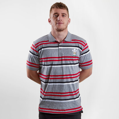 Wales WRU 2018 Off Field Striped Rugby Polo Shirt