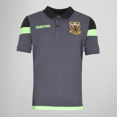 Macron Northampton Saints 2017/18 Kids Travel Rugby Polo Shirt