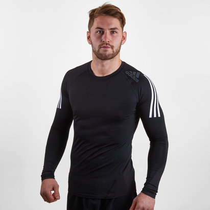 adidas AlphaSkin SPR 3 Stripe L/S Compression Top