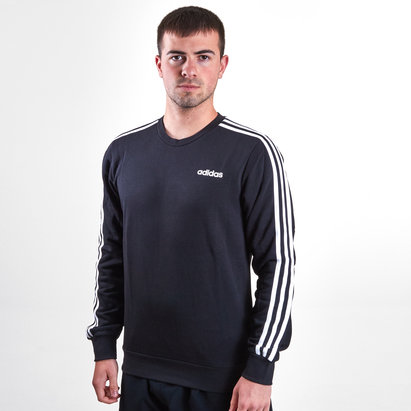 adidas Essential 3 Stripe Crew French Terry Sweatshirt