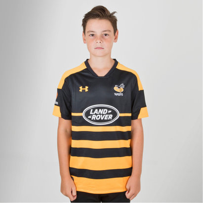 Under Armour Wasps 2018/19 Home Kids S/S Replica Rugby Shirt