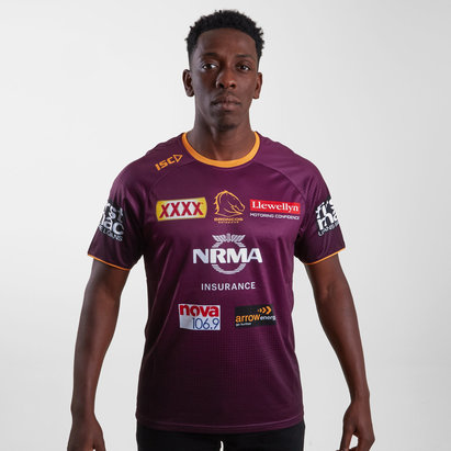 ISC Brisbane Broncos NRL 2019 Players Rugby Training T-Shirt