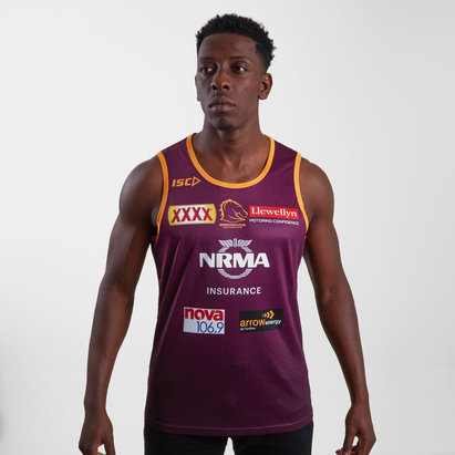 ISC Brisbane Broncos NRL 2019 Players Rugby Training Singlet