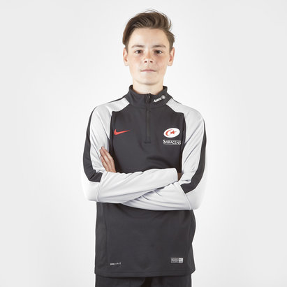 Nike Saracens 2018/19 Kids 1/4 Zip Warm Up Rugby Top