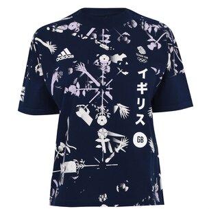 adidas Team GB Flower T Shirt Ladies