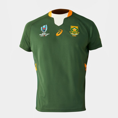 Asics South Africa Springboks RWC 2019 Kids Home S/S Replica Rugby Shirt