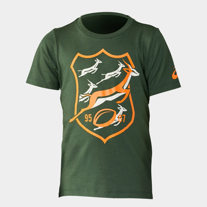 Asics South Africa Springboks 2019/20 Kids Graphic Rugby T-Shirt